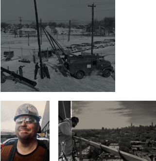 Collage of Images - Workers drilling at a work site, Construction Worker on a Building Site Overlooking a Skyline, and A Union Employee in a Hard Hat